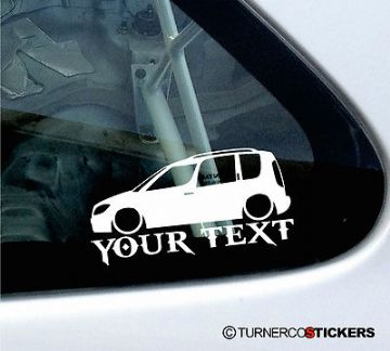 Custom Text / Name ,LOW Skoda Roomster silhouette sticker /Decal